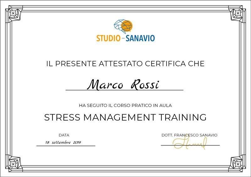 attestato corso gesione stress